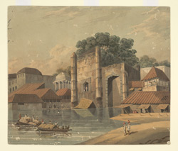 Unidentified view of houses and monuments on the banks of a river.  Groups of figures are fishing, rowing boats and carrying waterpots